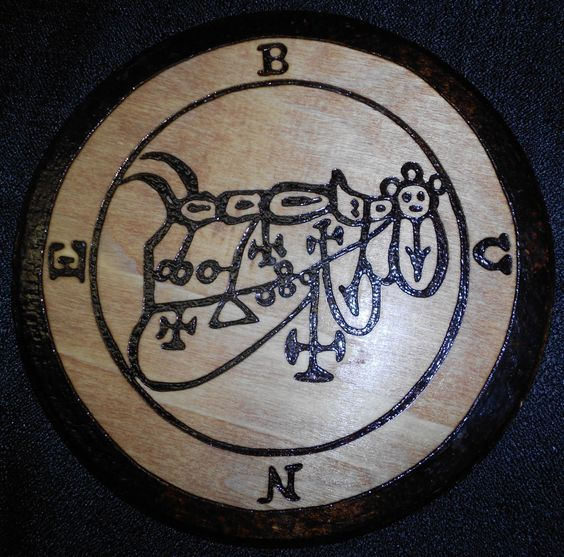 "Duke Bune - Goetia Seal on 7"" Pine Round. SOLD - Private Commission - Blood stained and sealed with natural shellac. See more at: http://www.Wooden-Child.com Copyright © MMXVI The Wooden Child."