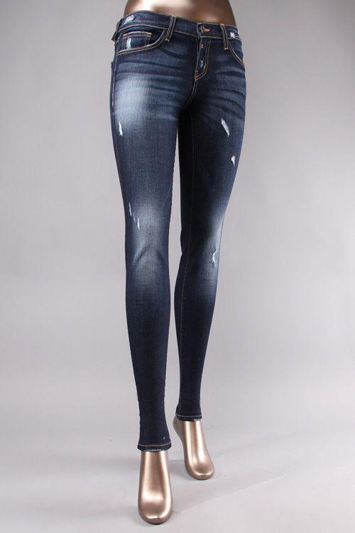 Flying Monkey Women Light Distress Paint Chips Skinny Jeans.