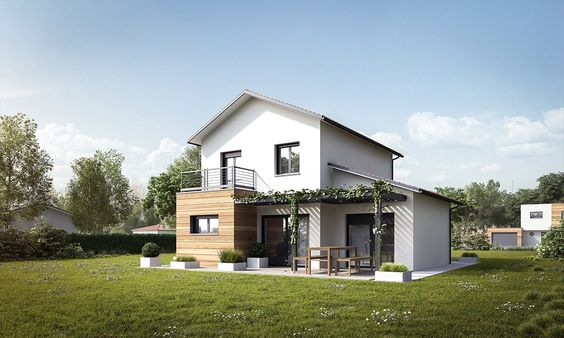 Modèle de maison RT2012 à étage avec suite parentale, garage et terrasse - Mètre…