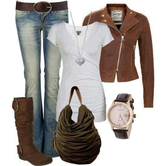 Fall Brown leather jacket outfit | fall winter closet | Pinterest ...