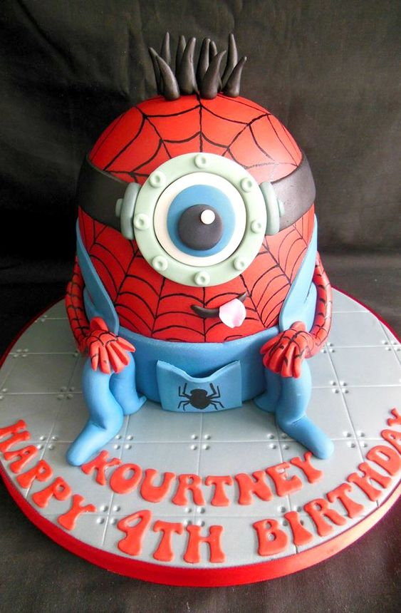 Minion Spiderman Cake - For all your cake decorating supplies, please visit craftcompany.co.uk