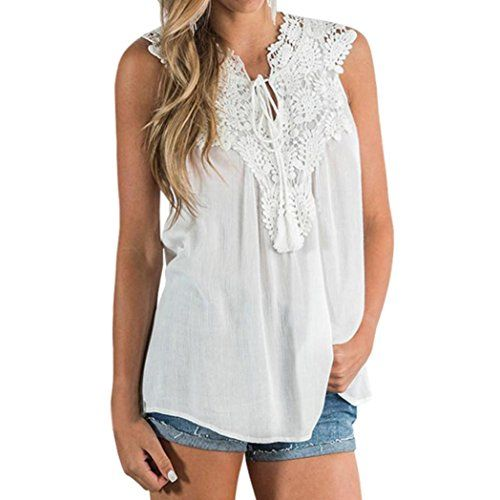Blouses for Women,Womens Tops Lace Vest Top Sleeveless Blouse Casual Tank Loose Tops T-Shirt