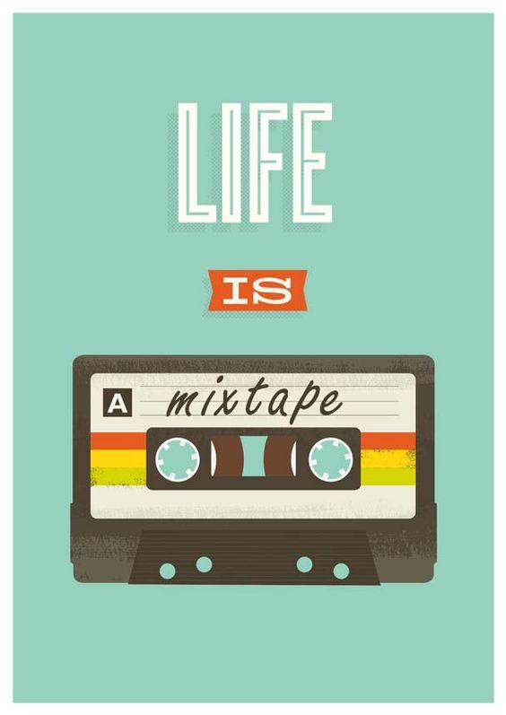 "Retro Quote print, pop art poster, 80s cassete, music, inspirational quote art, nursery print, ""life is a mixtape"" 8 x 11. $17.00, via Etsy."