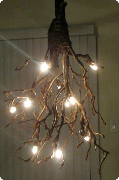 Rustic branch chandelier great idea to hang from a for Rustic outdoor chandelier