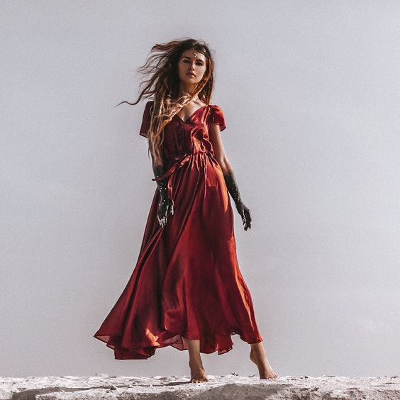 """FARA BOUTIQUE on Instagram: """"As if you were on fire from within, the moon lives in the lining of your skin #pabloneruda ???????? A beautiful series of our MALIN DRESS ?…"""" #fara #bohemian #queen #inspo #model #face #fashion #style #beauty #silkdress"""