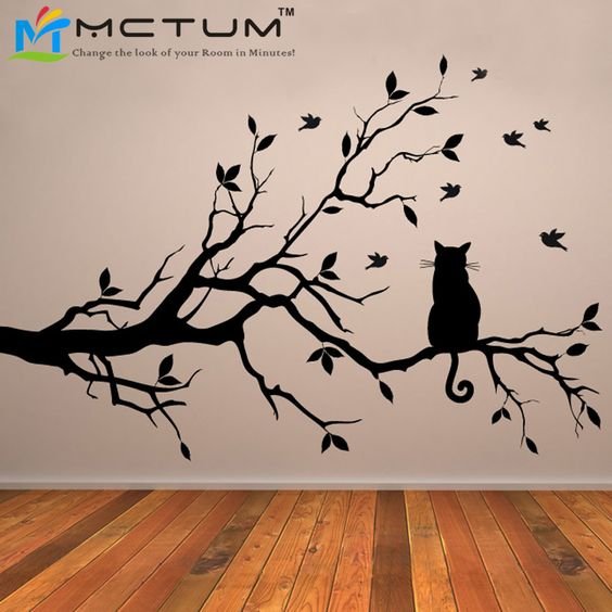 Günstige Katze Auf Ast Vögel Wandaufkleber Baum Vinyl Wand Aufkleber Adesivi Murali Glasfolie Fensteraufkleber Dekoration Wand Kunst, Kaufe Qualität Wandaufkleber direkt vom China-Lieferanten:                              Insgesamt Größen (breite x höhe)