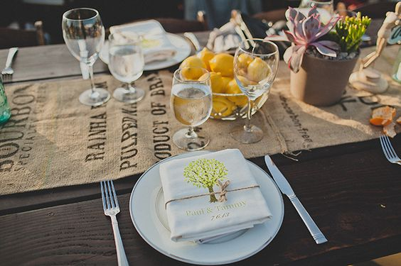 personalized favor bags to have guests pick lemons from the orchard during cocktail hour | wild{whim} design + photography | Glamour & Grace