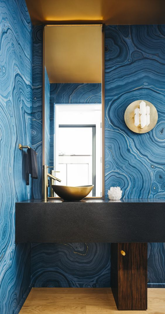 blue agate wallpaper    Modern Powder Room, San Francisco, CA