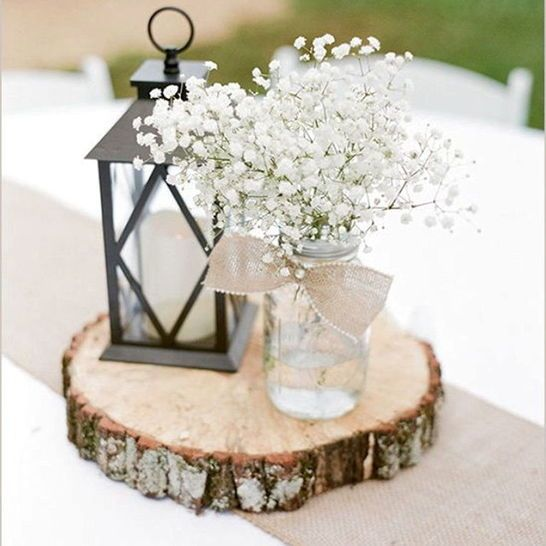 Wedding tree slice centerpiece rustic darby