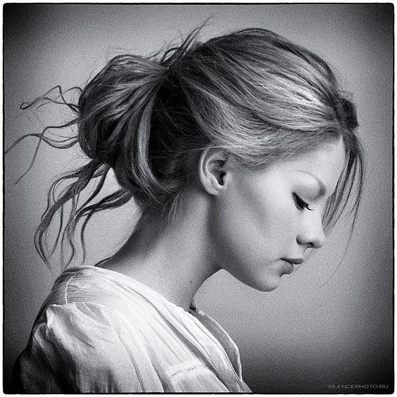 modest girl hairstyle sideview black and white look