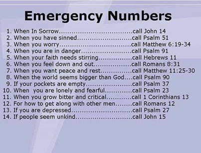 EMERGENCY NUMBERS BIBLE:
