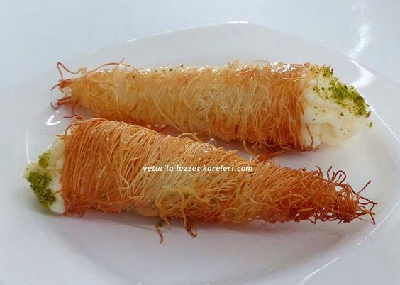 yetur'la lezzet kareleri: kremalı külah kadayıf tatlısı (kornet kadayıf tatlısı):