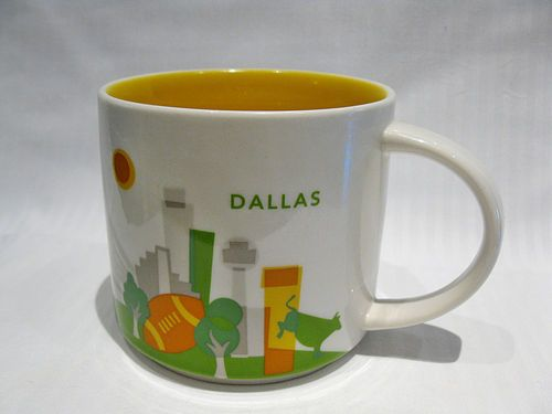 Each ceramic travel mug celebrates a hometown or favorite place to visit. Hidden Gems in Dallas. Starbucks designer Jordan Kay grew up loving John Wayne western films, and was inspired by vintage cowboy boots for the Dallas Double Wall Traveler. She elevated the boots to art with quirky patterns and details that include the city's skyscrapers, blooming azaleas, the Ferris wheel at Fair Park and even .