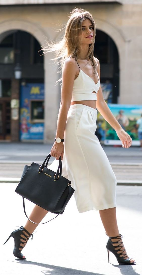 White Crop & Wide Culottes by Ms Treinta.: