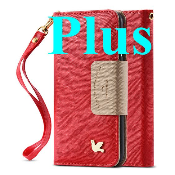 3D Bird Wallet Iphone 6 6s / Plus Cover Soft PU Leather String + Mirror + Card Holders Retro