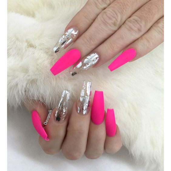 Pink matte coffins with silver foil accents. Nails by @chaunpnails: