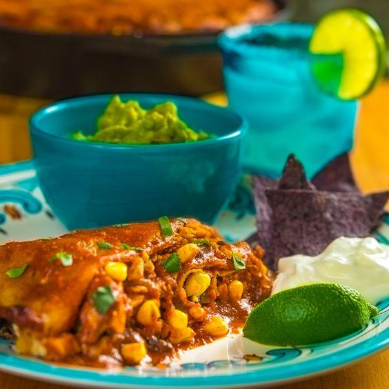 ... pie with smoked chicken, corn tortillas, onions, black beans, corn