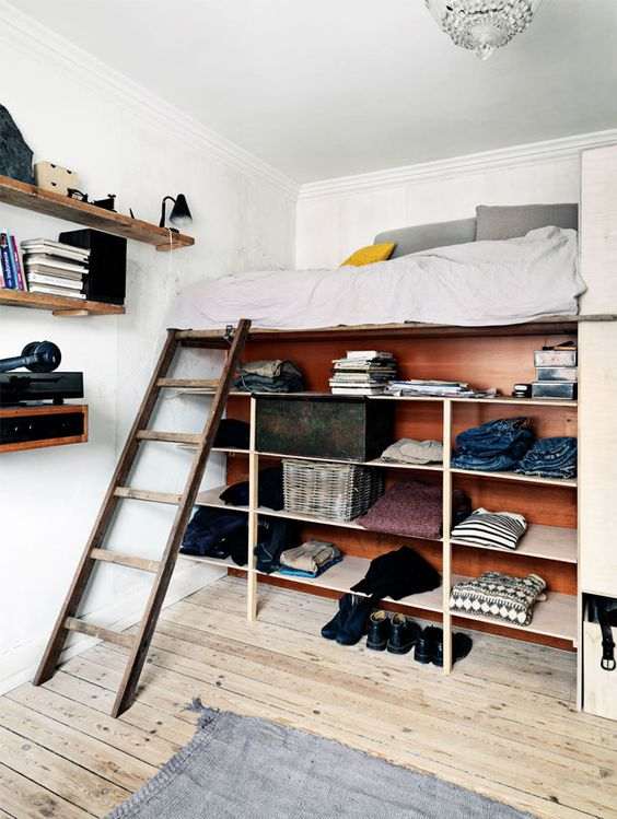 Loft bed with shelves underneath