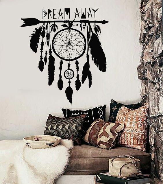 Vinyl Wall Decal Dream Catcher Dreamcatcher Amulet Bedroom Stickers (ig3355)