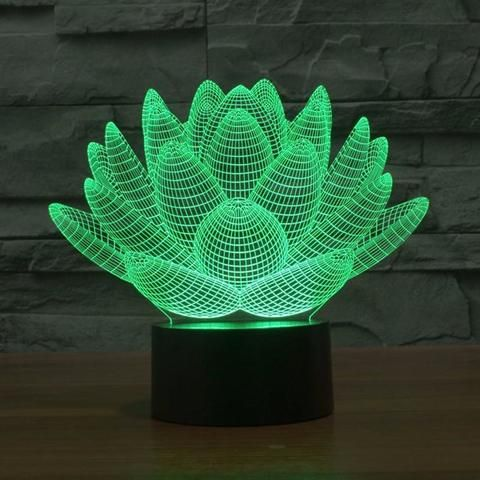 The Lotus 3d Led Illusion Lamp Is A Combination Of Art And Technology That Creates An Decorative Night Lights 3d Illusion Lamp Color Optical Illusions