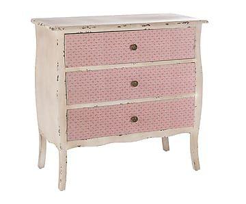 Cómoda en madera de pino y DM - rosa y gris