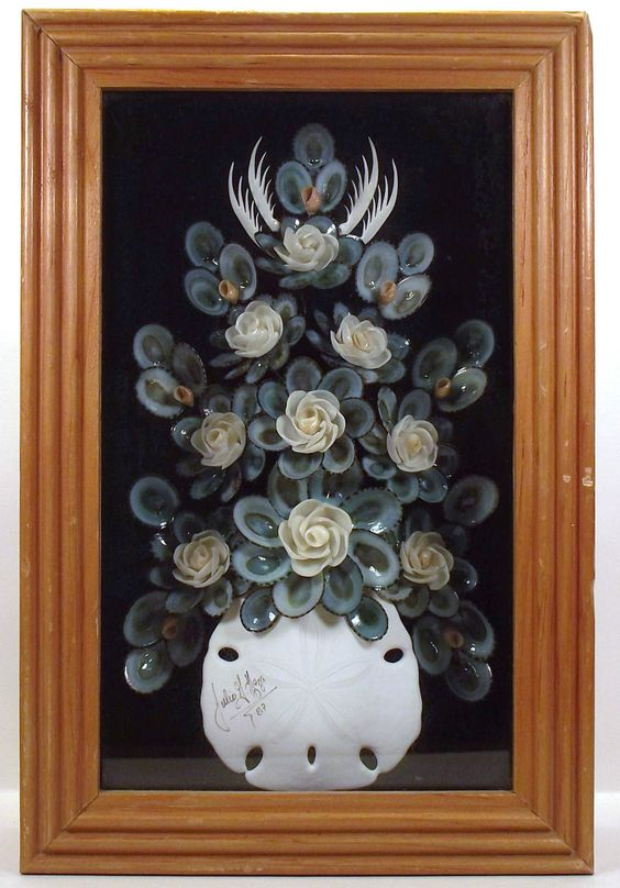 Seashell art framed mosaic shadow box collage signed julio for Seashell mosaic art