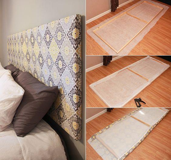 schlafzimmer ideen f r bett kopfteil selber machen aus holzrahmen und textil zuk nftige. Black Bedroom Furniture Sets. Home Design Ideas