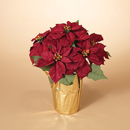 20 Inch Potted Burgundy Red Poinsettia Plant Artificial Christmas Poinsettia Plant In Gold Foil Wrap Silk Flower Arrangements Poinsettia Plant Christmas Poinsettia Silk Flower Arrangements