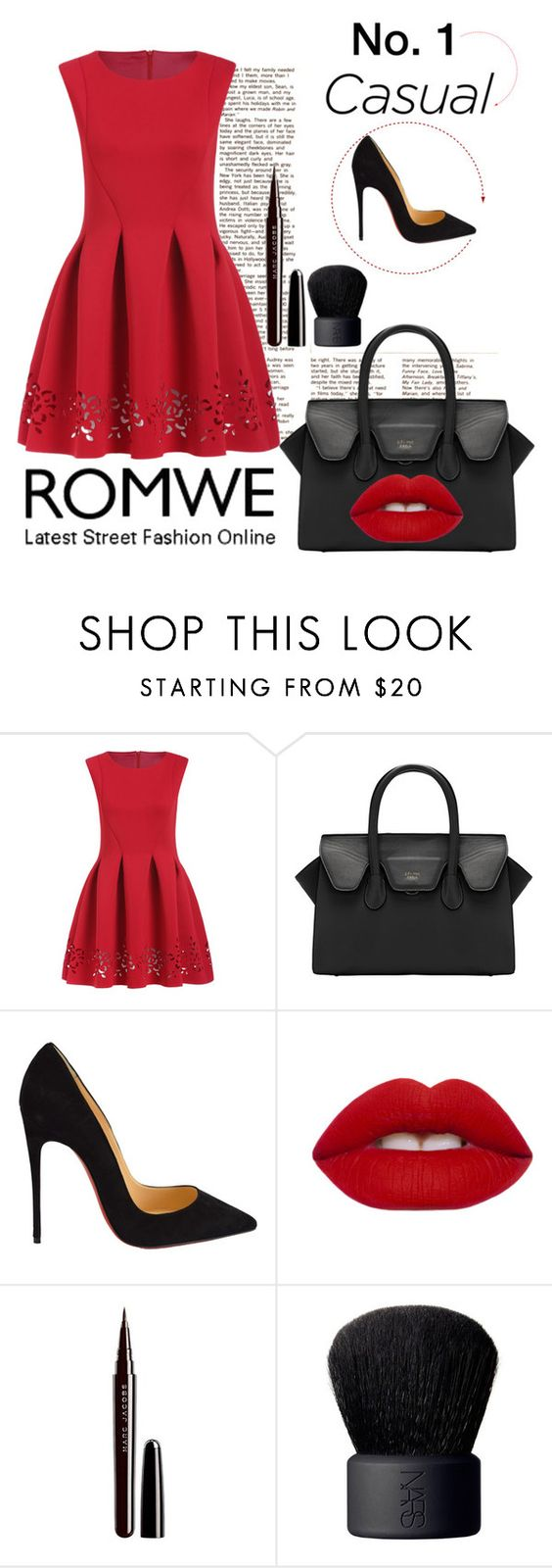 """""""Romwe 3"""" by mersida-1 ❤ liked on Polyvore featuring Christian Louboutin, Lime Crime, Marc Jacobs, NARS Cosmetics and romwe"""
