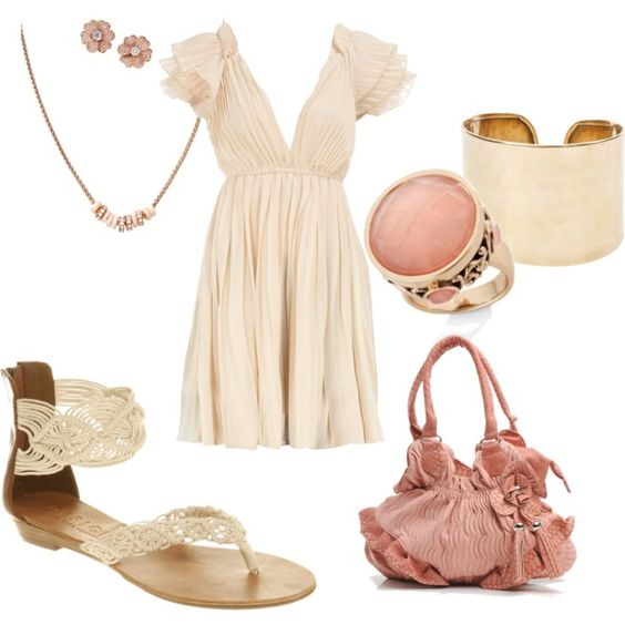 Peach & Ivory, created by amyjoyful1 on Polyvore. I like the purse & how each item is affordable (except for the diamond earrings, of course).