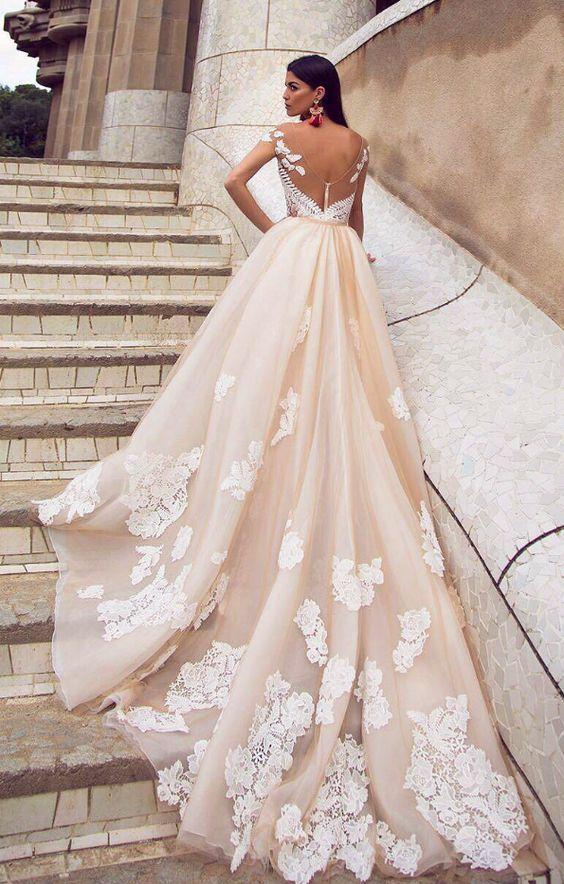 Sheer Fl Lace Embroidered Off White Wedding Dress Vestidos De Novia Y Novios