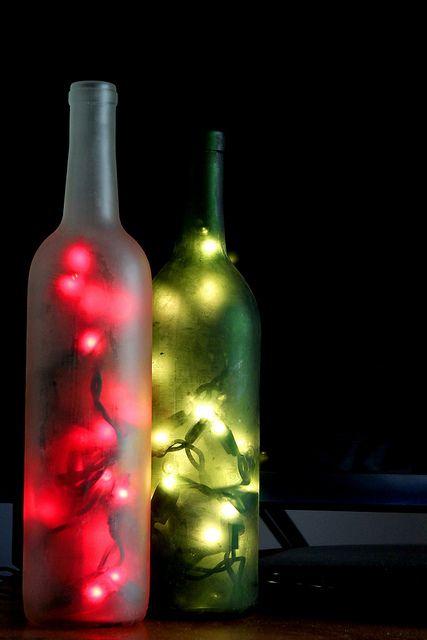 Christmas lighted wine bottles christmas pinterest for Empty wine bottles