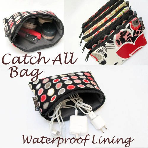 Catch All Bag holds chargers  cords  make up  by BorsaBella, $13.50.  I need like a dozen of these!!!