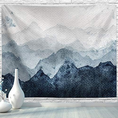 Bjyhiyh Extra Large Tapestry Wall Hanging Watercolor Blue Mountain Tapestry Nature Landscape Tapestr In 2020 Landscape Wall Tapestry Mountain Tapestry Large Tapestries