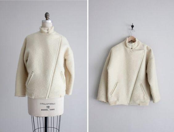 White wool coat / alafoss icewool coat / icelandic wool jacket