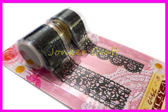 2 Rolls BLACK Lace Border Tape Trim Sticker Art Craft Scrapbooking Deco Gothic