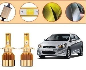 Hyundai Verna Fluidic Car C6 Golden Dual Color Led Head Lights