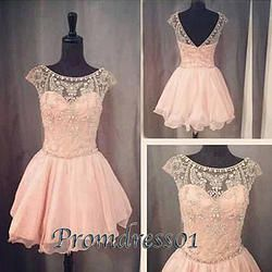 #promdress01 prom dresses - 2015 cute open back cap sleeve pink chiffon beaded short prom dress for teens, vintage ball gown, homecoming dress #coniefox #2016prom