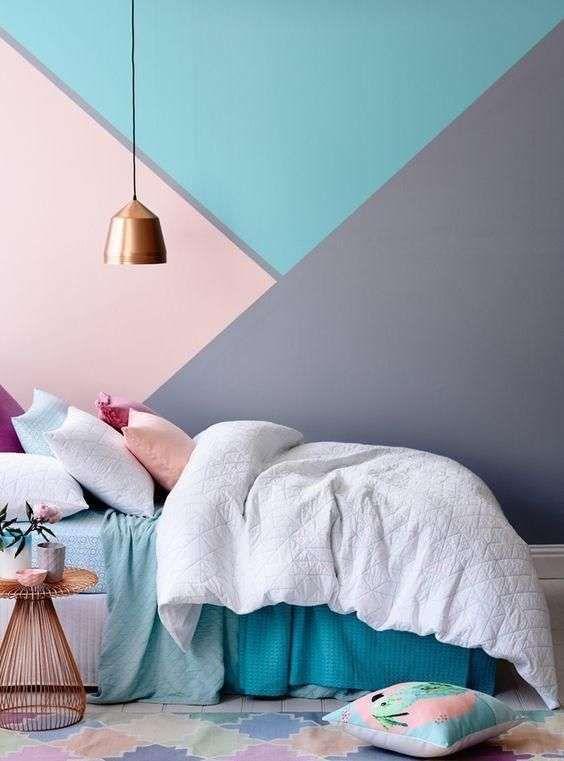 Paredes Geometricas Con Colores Retro Decoracion De Habitacion Juvenil Decoracion De Paredes Dormitorio Decorar Pared Habitacion