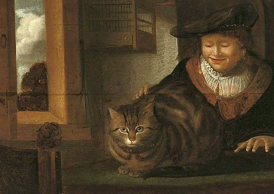 Man Stroking a Cat | oil painting, 17th century Follower of Rembrandt van Rijn