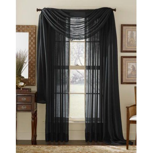 Curtains Ideas black sheer curtain : Pair of Black Sheer Curtain Panels Window Treatments by HLC.ME ...