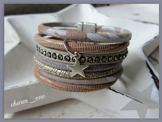 Armbänder - Lederarmband ✫ mehrreihig Armband camouflage - ein Designerstück von charm_one bei DaWanda
