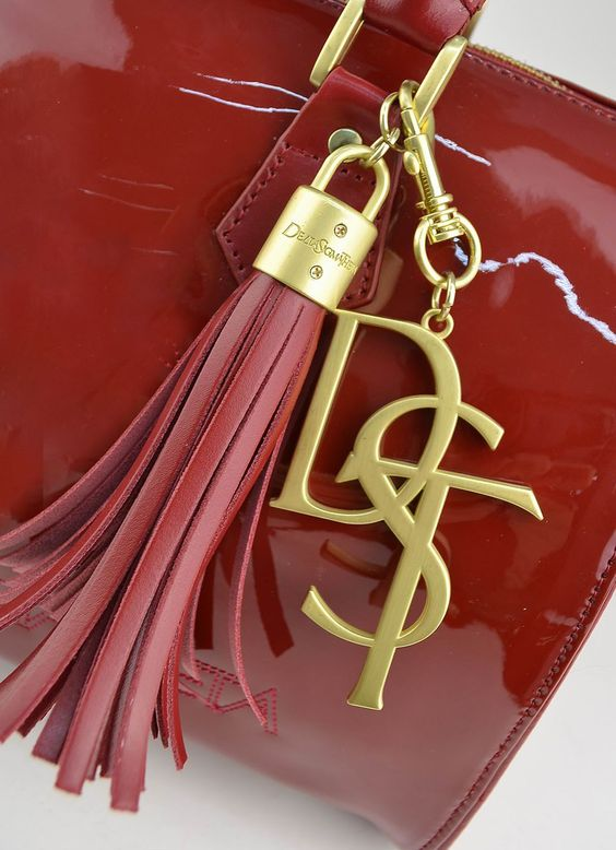 Red Leather Delta Sigma Theta Tassel Handbag Charm Keychain