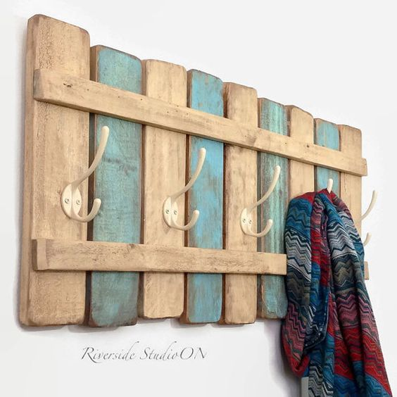 "Wood Coat Rack 31"" Nautical Blue / OOAK Coat Hook / Shabby Cottage Beach Chic Furniture/ Ships from Canada"
