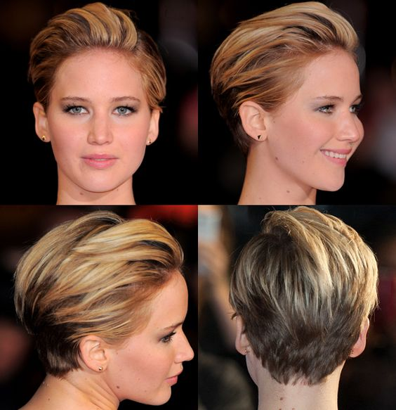 "Fashionista Jennifer Lawrence debuted her chic new pixie 'do on the red carpet at the London premiere of ""The Hunger Games: Catching Fire"" on Nov. 11, 2013.RELATED: Star hair: Better long or short?"