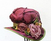 Ladies Edwardian Hat Vintage Reproduction Downton Abbey Style Hats for Women Handmade Flowers