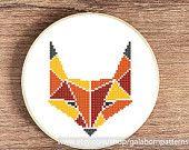SALE Fox - PDF counted cross stitch pattern - Geometric - Autumn woodland