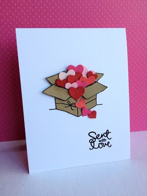 handmade card for Valentine's Day ... or any day you want to send some love ... really cute kraft box overflowing with die cut hearts ... clean and simple ... simply sweet ... Simon Says Stamp: