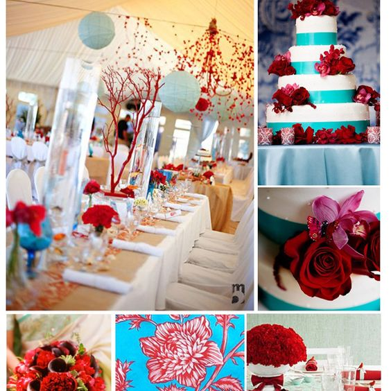 Turquoise And Red Wedding Ideas: Love These Centerpieces. Turquoise And Red Wedding
