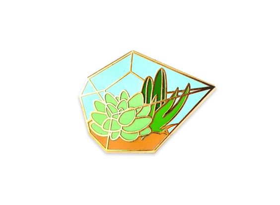 Succulent terrarium enamel pin (hard enamel pin lapel pin badge enamel jewelry cute cactus jewelry succulent pin backpack pins) by OhPlesiosaur on Etsy https://www.etsy.com/listing/385610602/succulent-terrarium-enamel-pin-hard